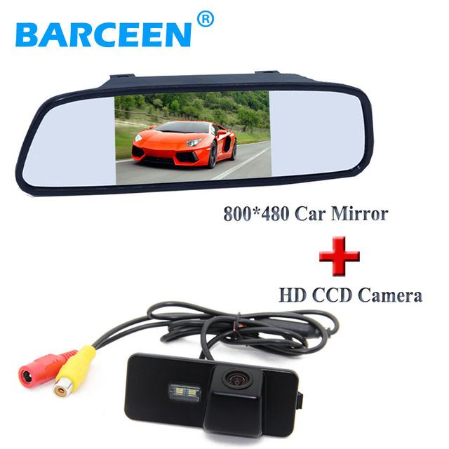 """5 """"carro invertendo espelho fio + ccd da câmera retrovisor do carro para volkswagen vw magotan passat cc/golf 5/polo hatchback/jetta"""