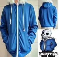 2018 Game Sans Undertale Cosplay Papyrus Blue Hoodie Costume Sweatshirts Women Man Zipper Hoodies Sweatshirt Winter Jacket Coat