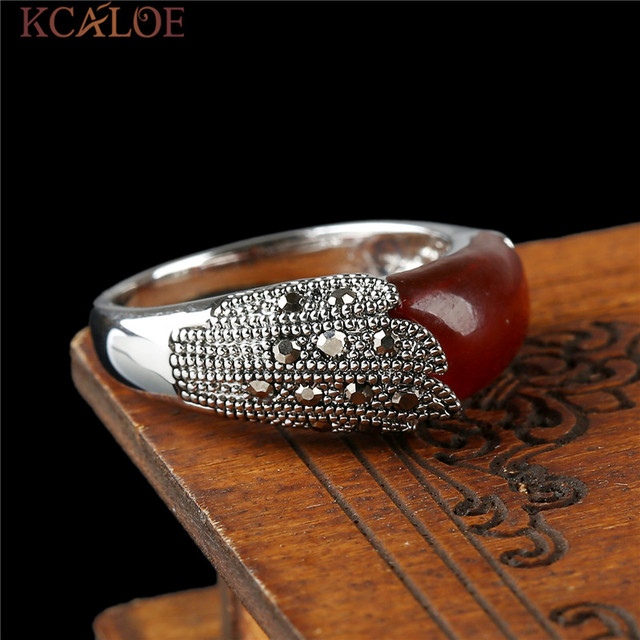 KCALOE Black Natural Stone Women Rings Vintage Retro Jewellery Antique Silver Color Crystal Rhinestone Brand Ladies Rings