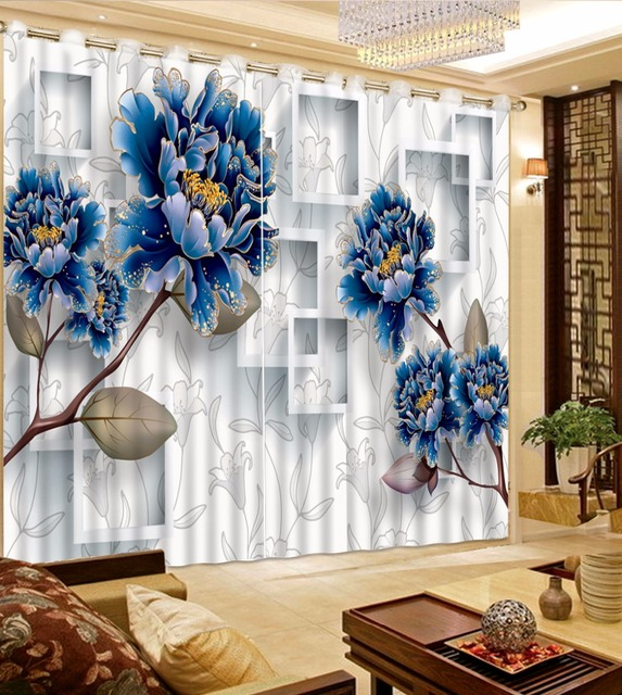 Europen Blume Vorhänge Für wohnzimmer Schlafzimmer 3D Fenster ...