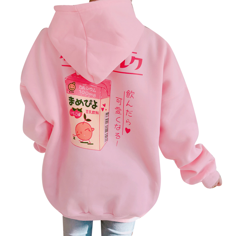 2017 New Fashion Cute Cartoon Printed Back Velvet Thick Hooded Long Sleeve Female Sweatshirts