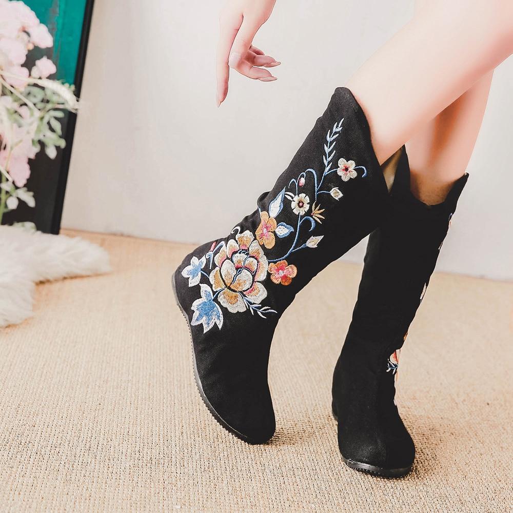 Coton Femme À Décontracté Bottes Vieux Dames Botas Noir Compensées Mujer Chaussures Toile Semelles Pékin Floral Mi Plat Brodé Zipper Automne q4OWwXE8X