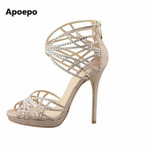 Apoepo Women graceful turquoise beige color crystal high heel sandals butterfly cut-outs bling bling rhinestone wedding shoes aidocrysta bling bling crystal high heel shoes glitter blue platform rhinestone wedding shoes women
