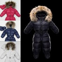 2017 New Winter baby snowsuit newborn warm duck down 100 Real Raccoon fur hooded jumpsuit infant