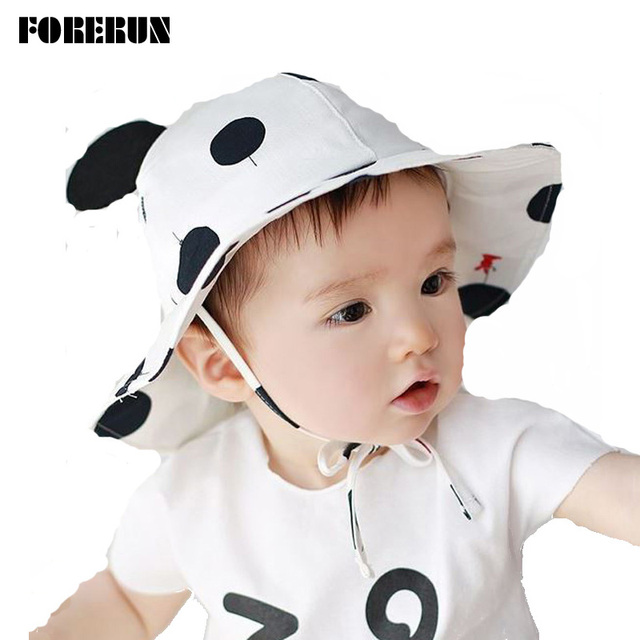 2cf122e7a58 2018 New Baby Hat with Big Dots Ears Kids Bucket Hats Soft Baby Boy Sun Hat  Summer Spring Cotton Cute Palace Caps Girls Visors