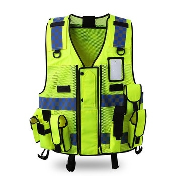 Reflective vest Traffic warning Road Administration fluorescent clothing vest vehicle Security Patrol Safety Protective Coat