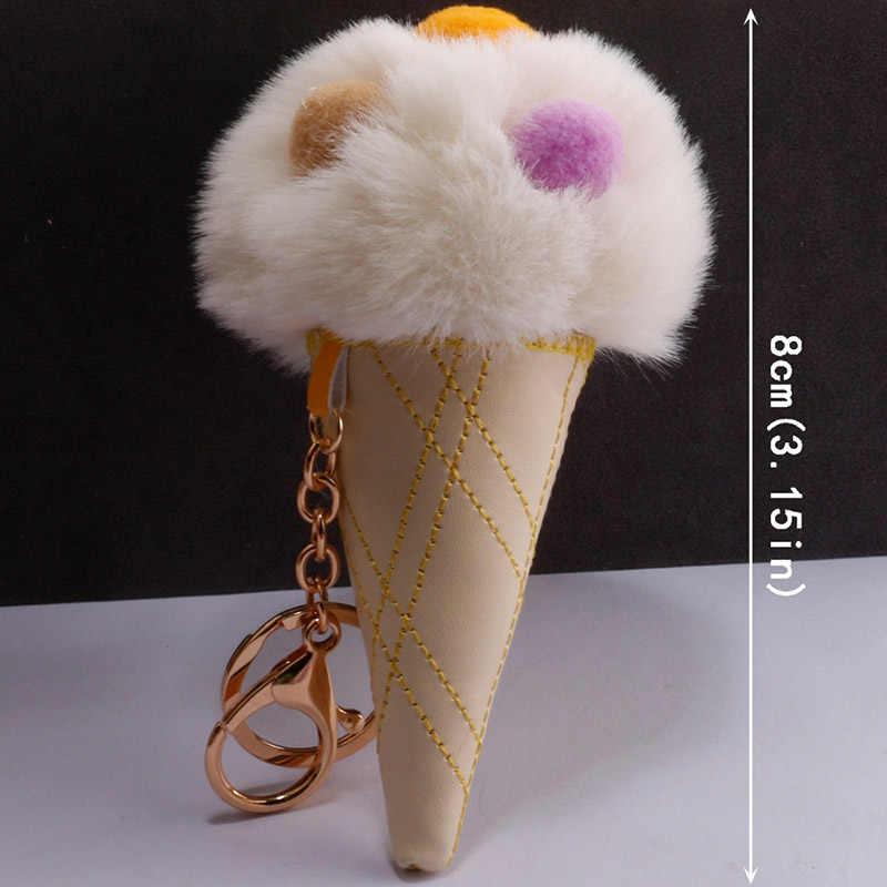 Colorido Sorvete Recheado Saco De Brinquedos de Pelúcia Fofo Pom Pom Pele de Metal Chaveiro Chaveiro Pingente de Bolsa Meninas Crianças Brinquedos presente