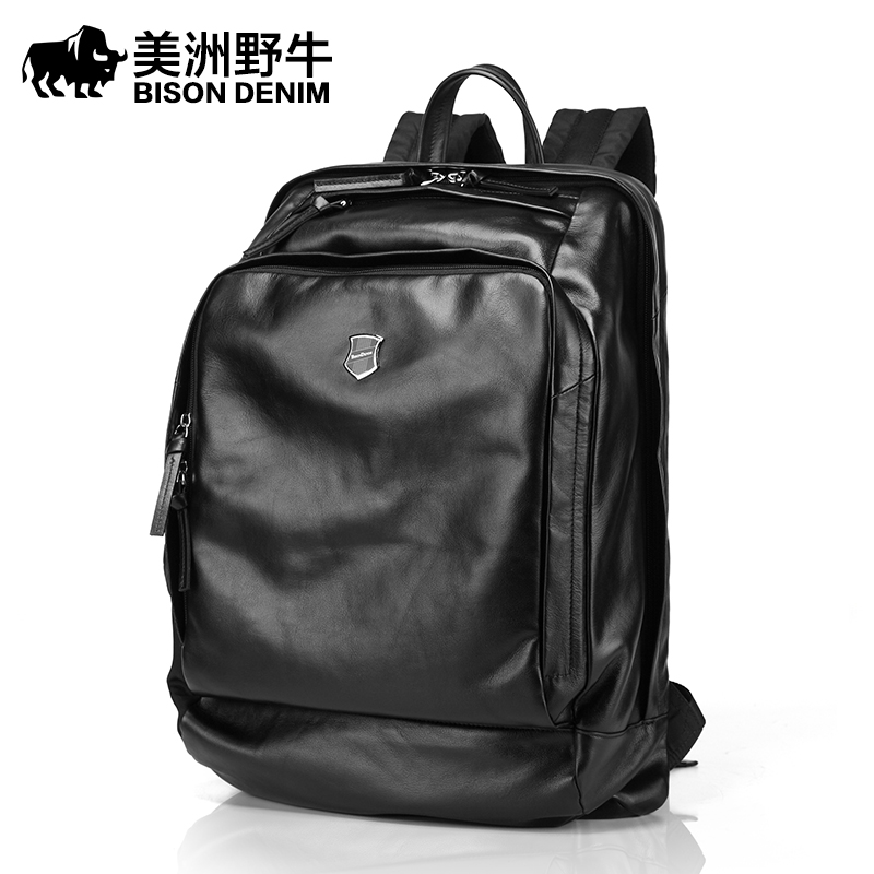 Brand BISON DENIM Genuine Leather School Bags For Teenagers Backpack Men Travel Casual Cowhide 14 Inch Laptop Backpack Free Ship laptop 14 15 inch notebook computer backpack men s travel black backpacks brand waterproof pu leather school bags for teenagers