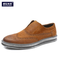 Retro Mens Carved Casual Brogue Shoes Business Man Wing Tips Slip On Oxfords Fashion Wedding Dress