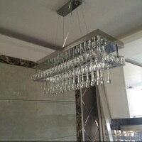T Luxury Rectangle Modern Fashion Crystal LED Pendant Light Creative Simple Lamp For Home Livingroom Bedroom