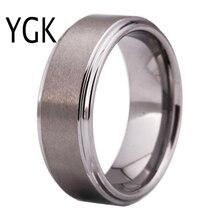 """YGK מותג תכשיטי 8 מ""""מ רוחב כסף צבע מט סיים שטוח מרכז טונגסטן טבעת עם בהיר מלוטש צעד קצוות עבור חתונה"""