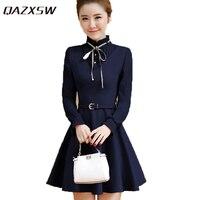 QAZXSW Women Solid Dresses Autumn 2017 New Korean Style Slim Dress Long Sleeve Winter A Line
