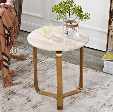 Marbre côté quelques de luxe ins designer creative petit appartement salon canapé petite table table basse en métal.