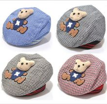 New Style Baby Hat Winter Animal Style Kid Hat Lovely Bear Cartoon Infantil Beret Tartan Newborn