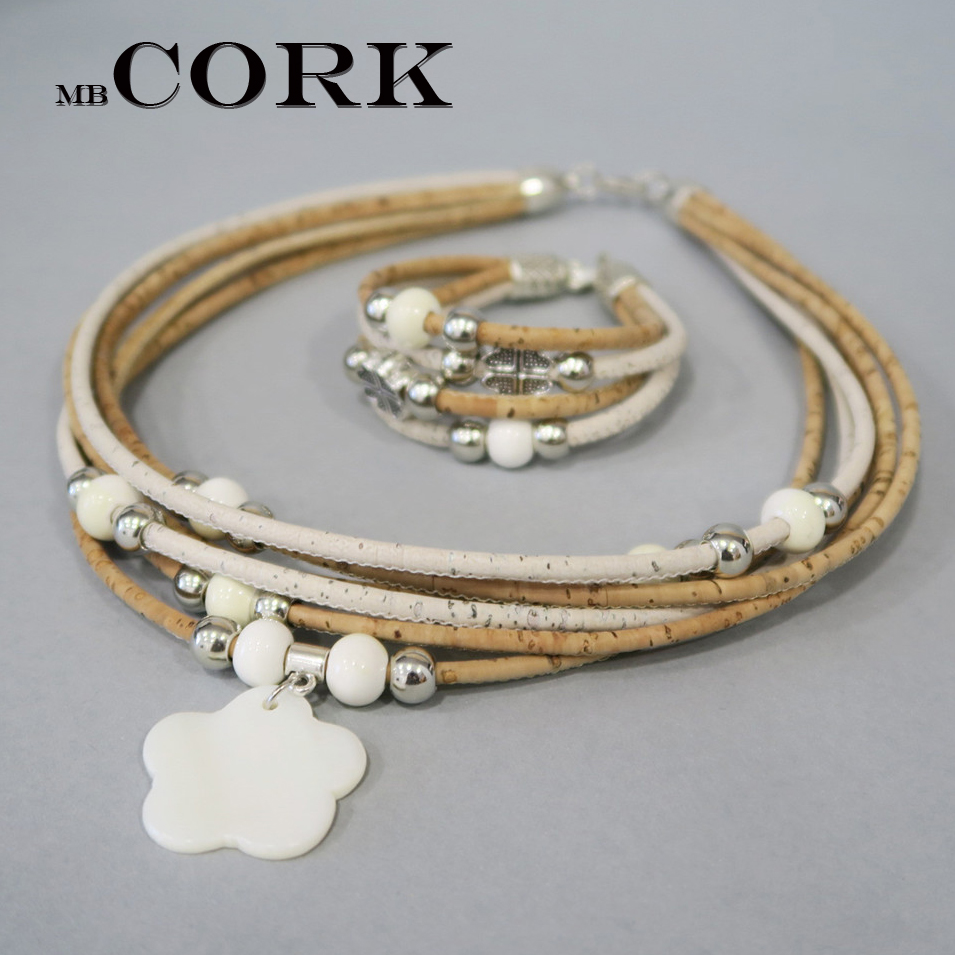 Natural Cork Handmade Clover shells with white beads Multi-stranded women original necklace eco materials wooden jewelry set-037