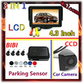 3 in 1 &4.3 Inch Car Monitor For DVD VCD 2 Video Input & CCD rear view Camera For Car System 4 Sensor Car Parking Sensor Kit