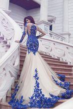 Royal Blue Nude Mermaid Long Sleeves Brautkleider Spitze Kleider Sexy Illusion Zurück Frauen Formale Abendkleider Party Kleider Neue