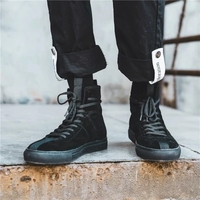 Ribbon Design Foreign Street Show Models High Leather Hip Hop Leisure High Help Lace Black Skateboard Shoes Men