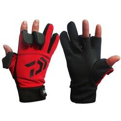 Daiwa Full Finger Fishing Gloves Warm 3 Fingers Cut Waterproof Anti-slip Fishing Glove Outdoor Hunting Camping Sports Gloves