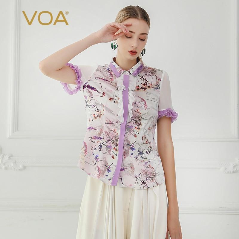 c3b57a0a Detail Feedback Questions about VOA Chiffon Silk Blouse Women Summer Short Sleeve  Shirts Lavender Purple Print Ladies Tops Korean Clothing Cute Ruffles B608  ...
