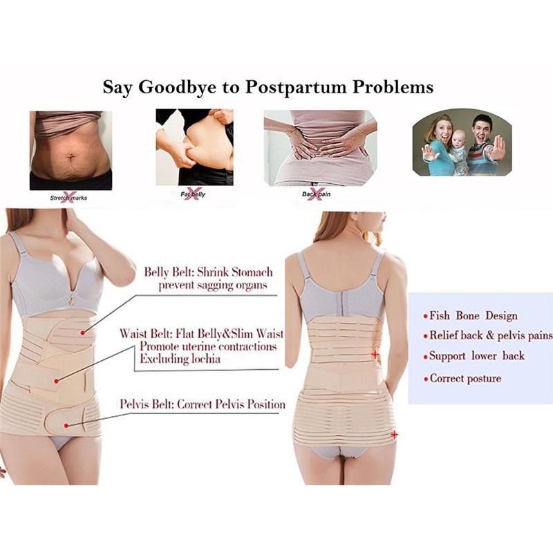 Miss Moly 3 in 1 Postpartum Support Recovery Belly Wrap Waist Pelvis Belt CIncher Body Shaper Maternity Postnatal Shapewear Set
