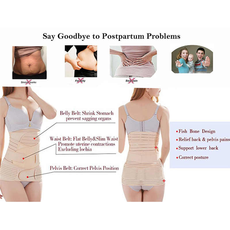 4d8d1e9c7 ... Miss Moly 3 in 1 Postpartum Support Recovery Belly Wrap Waist Pelvis  Belt CIncher Body