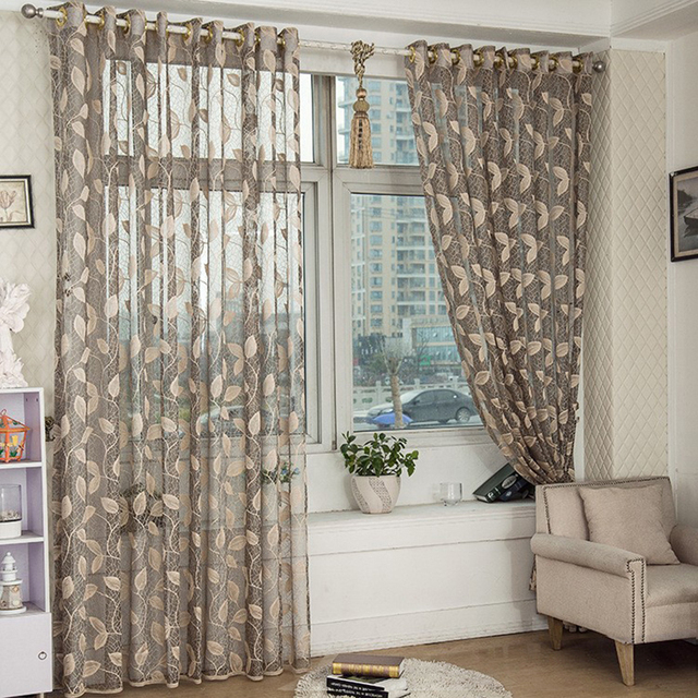 Chinese Sheer Curtain Window Screening Tulle Leaf Nature Modern Curtains  For Living Room New Part 76