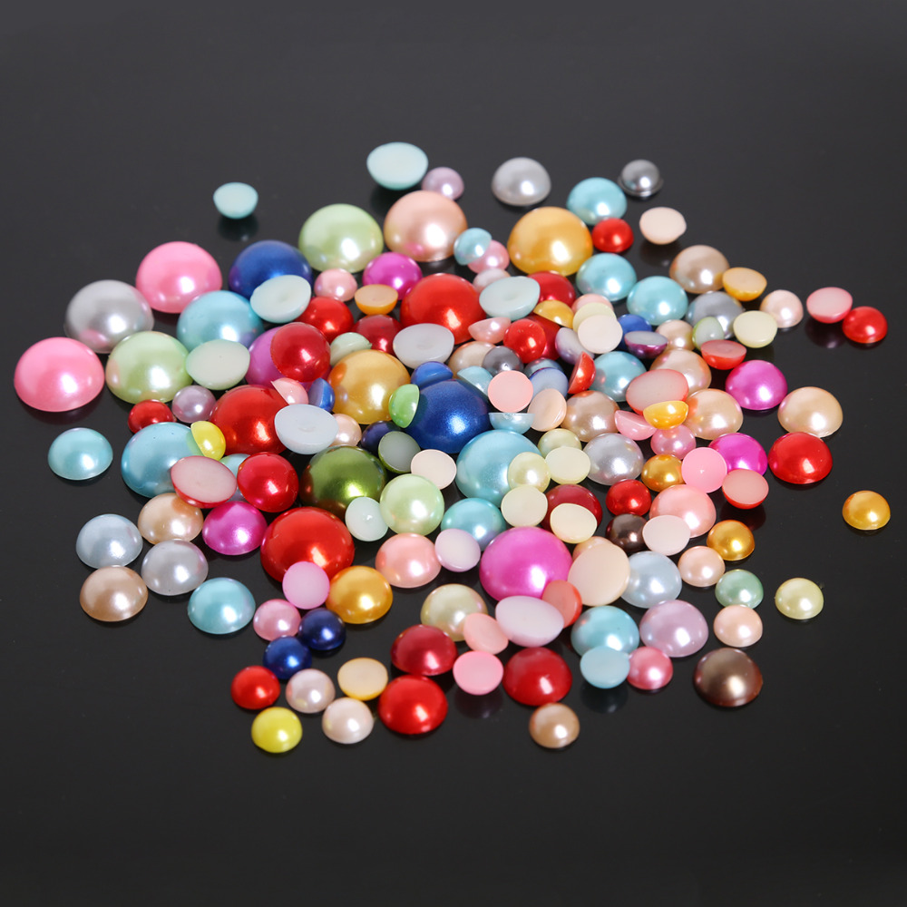 Многоразмерные 50-1000 шт полукруглые пластиковые бусины ABS имитация жемчуга для украшение ручной работы украшение для альбома