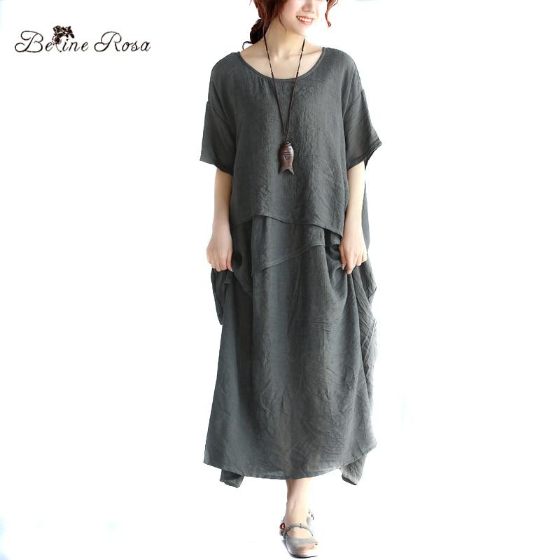 BelineRosa 2017 Plus Size Kleider frauen Urlaub Stil Asymmetrische Rüschen Baumwolle Leinen Große Größen Kleid Frauen TYW00321