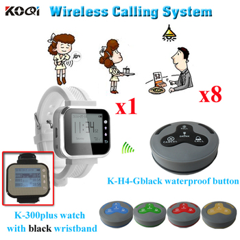 Pager Waiter Call System Transmitted Distance 300m in the open area Restaurant Service Equipment( 1pcs watch + 8pcs buzz