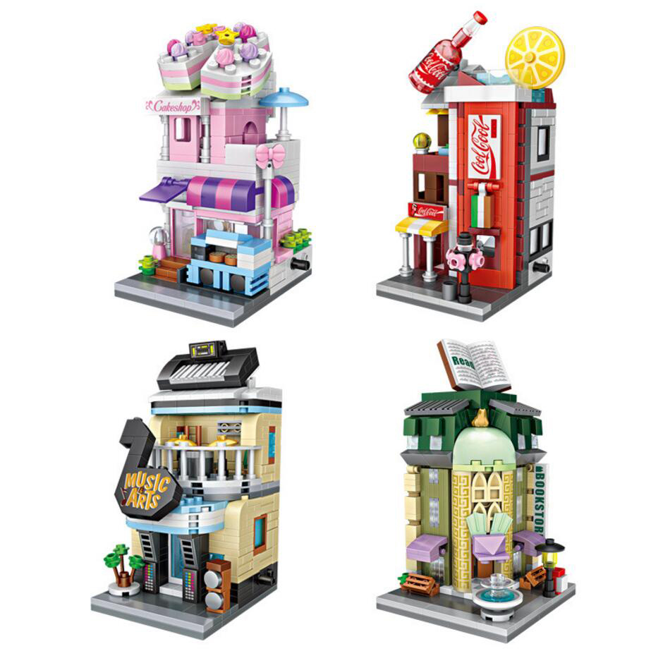 Loz Mini Diamond City Street View Cola Bookstore Musical Instrument Piano Cake Shop Building Block Nano Bricks Educational Toys loz street view architecture building brick 303pcs