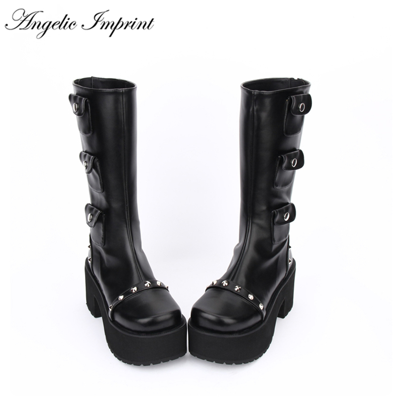 2018 hiver Punk Lolita plate forme épaisse Rivet PU cuir bottes hautes-in Bottines from Chaussures    1