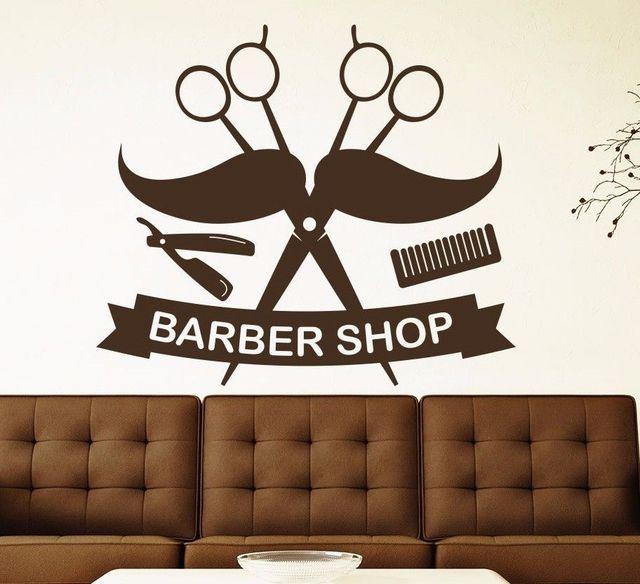 YOYOYU Wall Decal Man Salon Wall Stickers Barber Shop Logo Design Cool  Vinyl Wall Decals Scissors