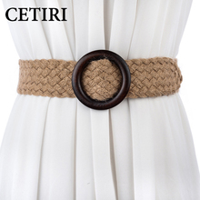 New Vintage Knitted Wax Rope Wooden Bead Smooth Buckle Waist Belt For Dress Woman Woven Female Braided Belt Accessories