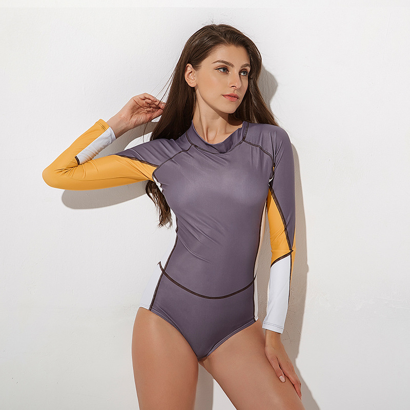 New Patchwork Rash Guards Long Sleeve One Piece Suit Back Zipper Swimsuit S XL Girl Slim Tights Swimwear Professional Monokini in Body Suits from Sports Entertainment