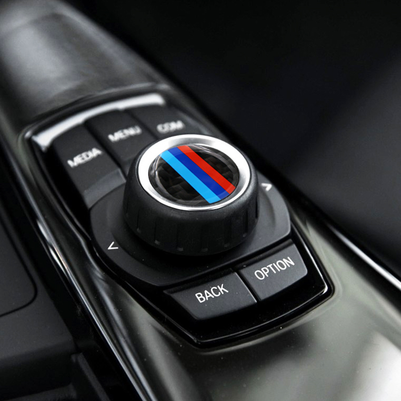 Car <font><b>styling</b></font> Carbon Fiber Multimedia audio control buttons labeled labeling <font><b>interior</b></font> decoration car stickers modified for <font><b>bmw</b></font> image