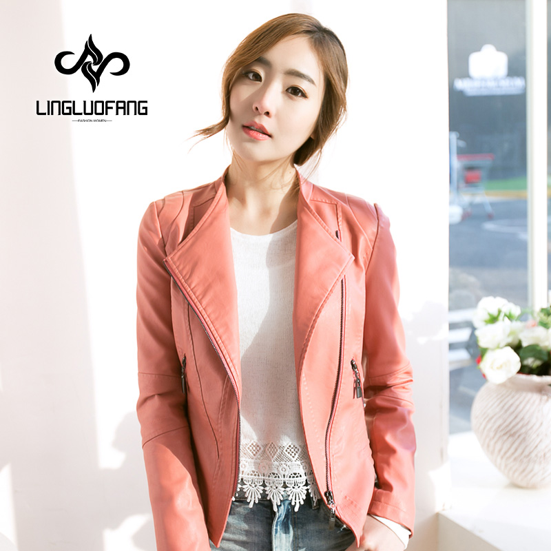 spring and autumn Brand leather jacket women Slim Short motorcycle jacket black pink blue rose faux