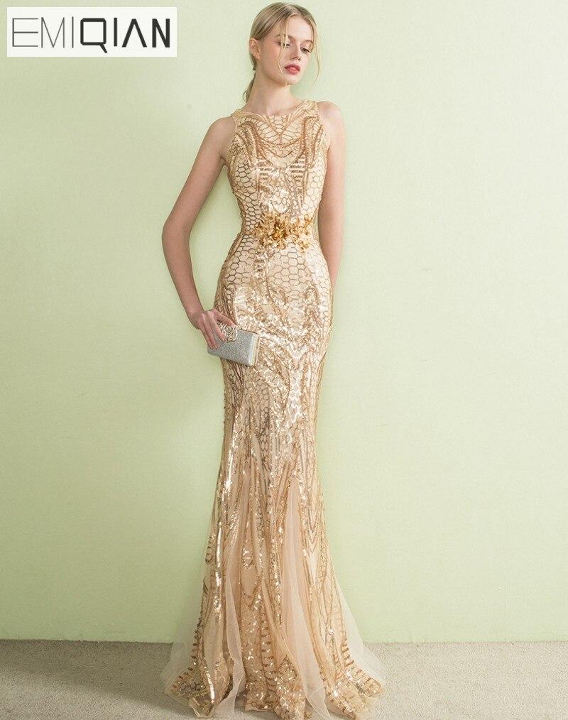 US $11.11 110% OFFDesigner Gold Pailletten Spitze Meerjungfrau Lange  Abendkleider Sehen Obwohl Zurück Formale Prom Party Kleid robe de soiree   -