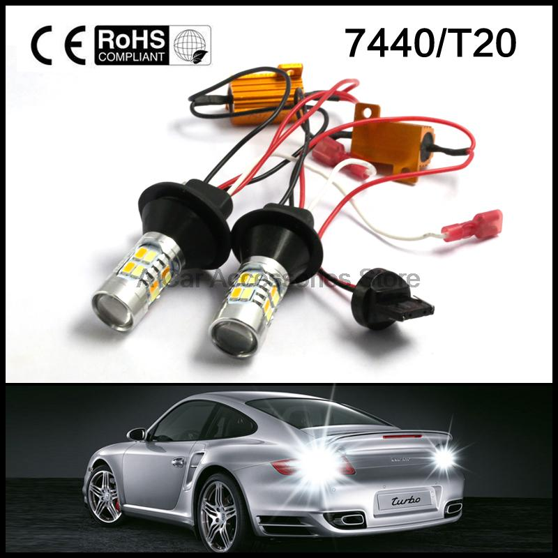 T20 7440 Dual-Color Switchback LED DRL Turn Signal Light Kit Canbus Error Free white amber 30w amber orange canbus error free cree chips led t20 7440 w21w led car turn signal light bulb