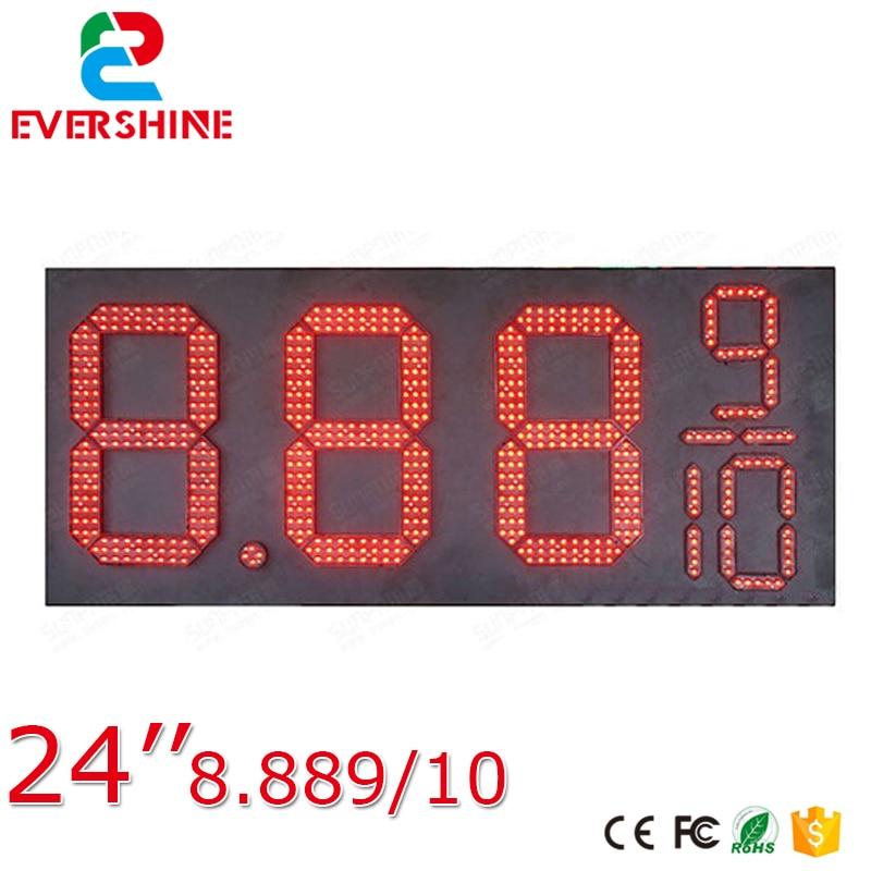 все цены на 24'' 8889/10 red outdoor waterproof led gas station price signs board 7segment Digital led fuel gasoline board онлайн