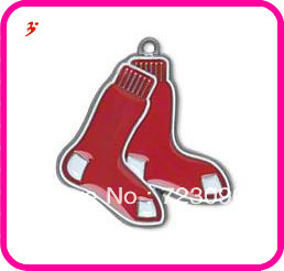 10pcs a lot classic red enamel single-sided Boston Red Sox Charm  jewelry