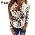 2016 Autumn Harajuku Fish Flower Print Jackets New Women Contrast Color Sleeve Bomber Jacket Coats Pilots Couple Outerwear