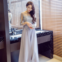 New Spring Summer Fashion Sequins Lace Gauze Dresses Woman S Sexy Backless Long Sleeve Perspective Long