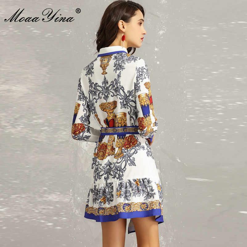 MoaaYina, модное дизайнерское подиумное платье, весеннее женское платье с отложным воротником, с длинным рукавом, с бисером, с цветочным принтом, Асимметричное мини-платье