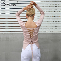 Simplee Sexy Backless Lace Up Knitting Pullover Top Fashion Slit Cuff Autumn Winter Sweater Women Chic