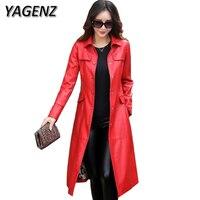 YAGENZ Autumn Winter Women Pu Leather Jacket Solid Slim Long Overcoats Windproof Waterproof Faux Leather Female