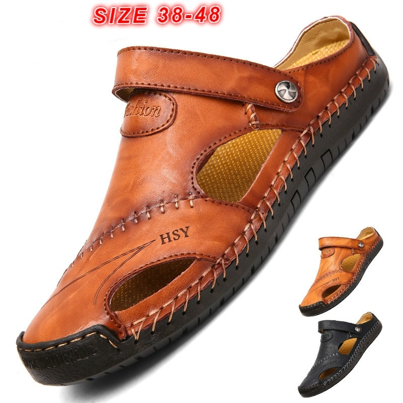 2019 New Fashion Sandals Men Hand Stitching Soft Outdoor Closed Toe Leather Sandals Fashion Breathable Slippers Size EU 38-482019 New Fashion Sandals Men Hand Stitching Soft Outdoor Closed Toe Leather Sandals Fashion Breathable Slippers Size EU 38-48