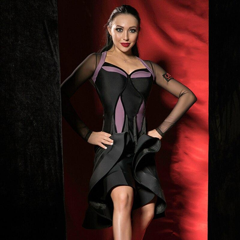 Mode danse latine robe femmes noir couture Tango robes Salsa Cha Samba Rumba pratique Performance danse porter DC1502
