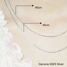 Real Pure Genuine 925 Sterling Silver Chain Necklace Basic Women Box Chains Luxury Fine Jewelry Necklace