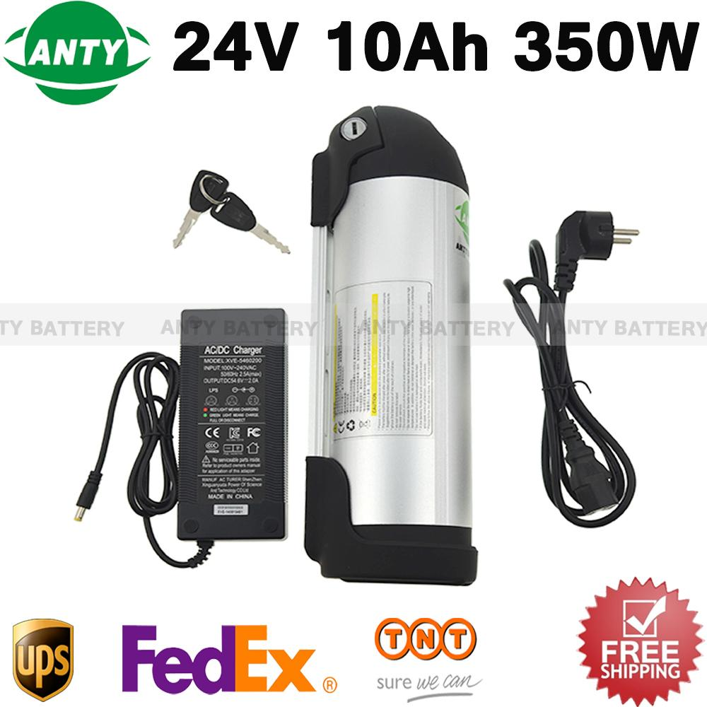 Electric Bike Battery 24v 10ah 350w Lithium Battery Pack 24v With 2a Charger ,15a Bms E-bike Battery 24v Free Tnt Shipping